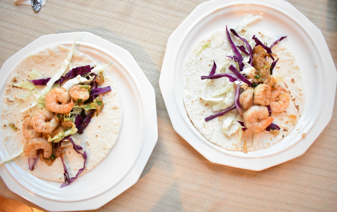 healthy grilled shrimp tacos on plate